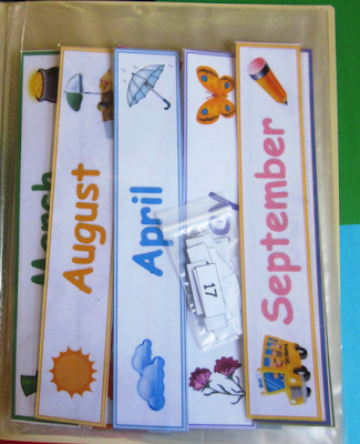 Months of the year word wall cards with clipart