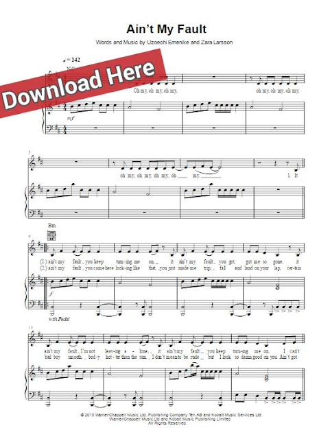zara larsson, ain't my fault, sheet music, piano notes, keyboard, guitar, chords, klavier noten, tutorial, lesson, voice, vocals