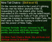 naruto castle defense 6.0 naruto Nine Tail Chakra detail