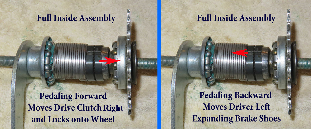 Side by side illustration of opperation of coaster brake parts