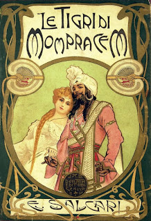 The cover of Salgari's 1900 novel, Le Tigri di Mompracem (The Tigers of Monpracem