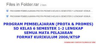 Contoh Prota & Promes Kelas 6 SD KTSP Semester 1-2 Semua Mapel Lengkap