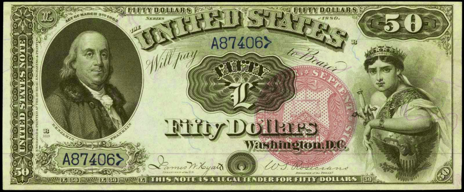United States Notes 50 Dollar Legal Tender Note 1880, Benjamin Franklin