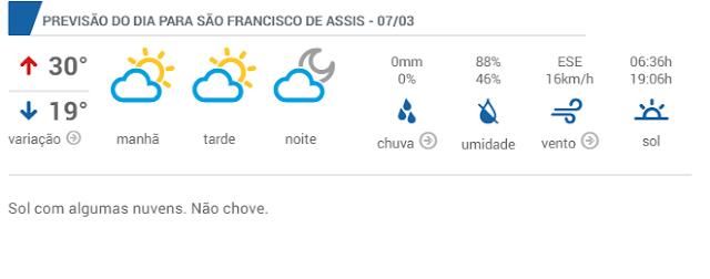 PREVISÃO DO TEMPO PARA ESTÁ TERÇA-FEIRA EM SÃO CHICO...