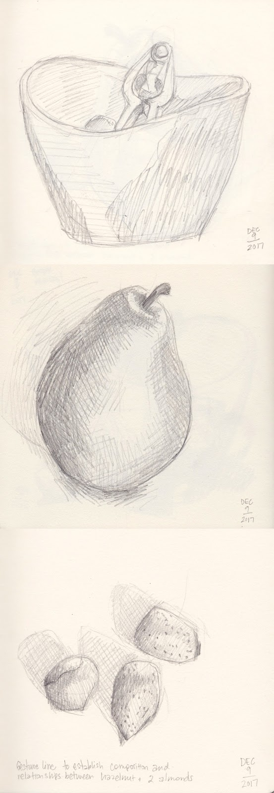 Daily Art 12-9-17 still life sketch in graphite number 61-63 - bowl pear nuts