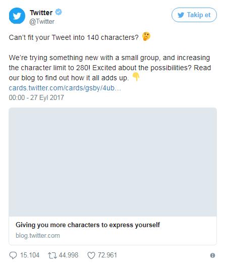 Twitter'ın yeni karakter sınırı 280!