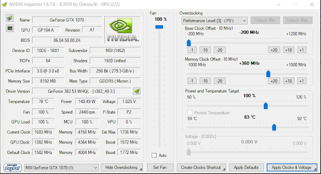Overclocking Dual GPU Nvidia 1070 GTX SLI using NVinspector