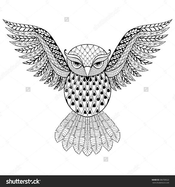 Anti Stress Coloring Owl  Zentangle Vector Owl For Adult Anti Stress Coloring  Pages Ornamental Tribal
