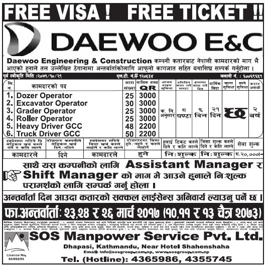 Free Visa Free Ticket Jobs in Qatar for Nepali, Salary Rs  87,000