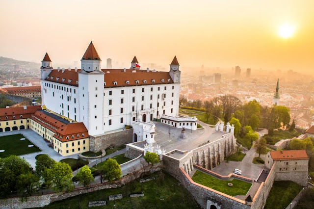 View of Bratislava Castle on the hill, Slovakia