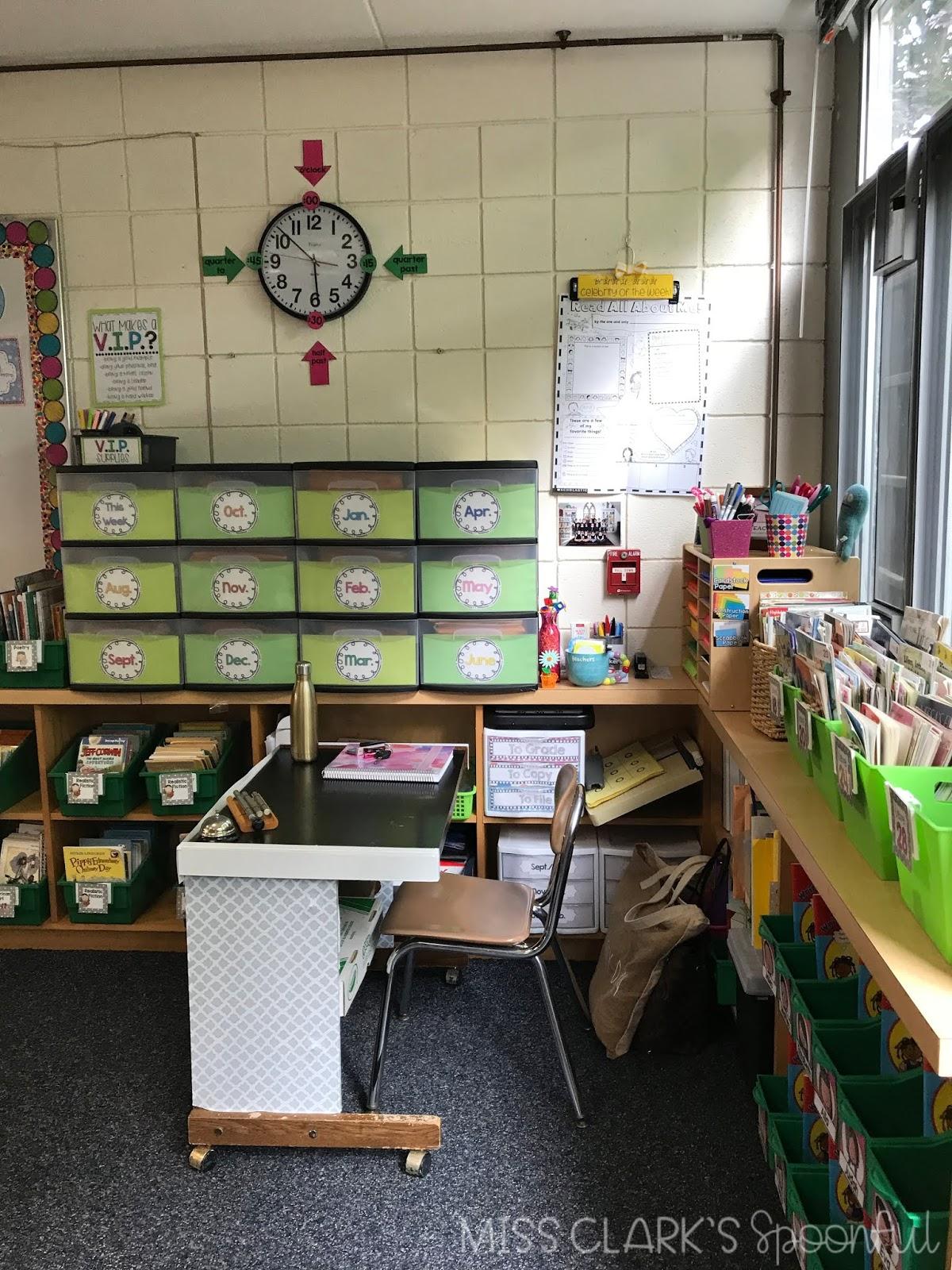 classroom clock with arrows