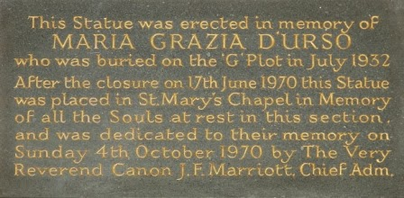 Memorial plaque in Chapel at St. Mary's Roman Catholic Cemetery in London.