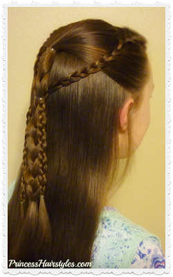 Easy back to school hairstyle. Gathered braids video tutorial.