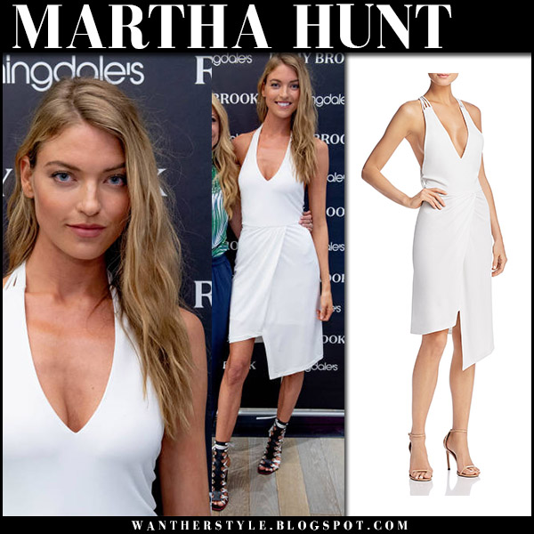 Martha Hunt in white asymmetric dress ramy brook model style april 12