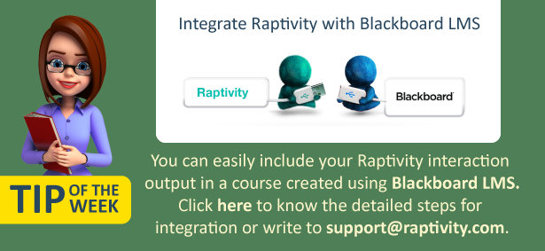 An image explaining the possibility of integrating Raptivity with Blackboard LMS and providing link to detailed integration steps.