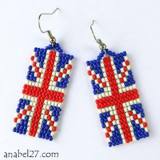 купить серьги британский флаг бисер россия