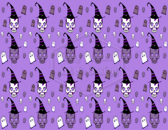 Halloween-purple-skull-pattern-design-by-yamy-morrell