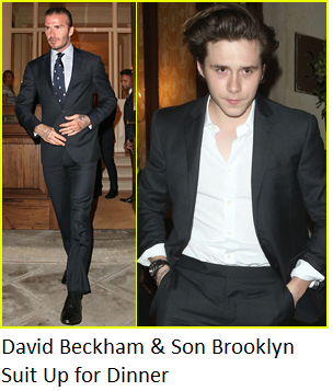 David Beckham & Son Brooklyn Suit Up for Dinner Event in Mayfair, London.