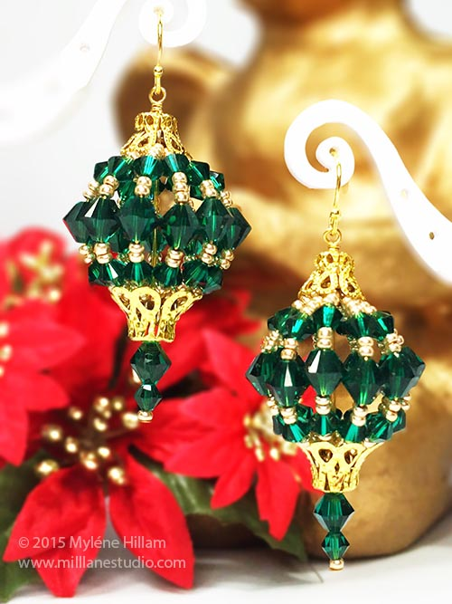 Emerald and gold bead bauble earrings