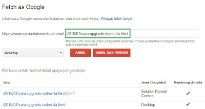 URL Artikel Fetch as Google