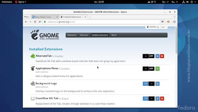 Gerenciando extensões do GNOME Shell através do Opera no Fedora Workstation