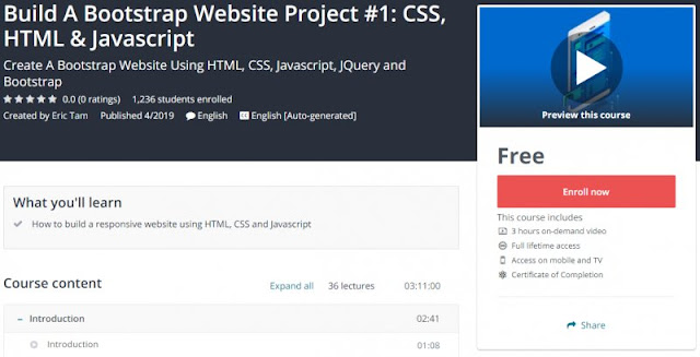 [100% Free] Build A Bootstrap Website Project #1: CSS, HTML & Javascript