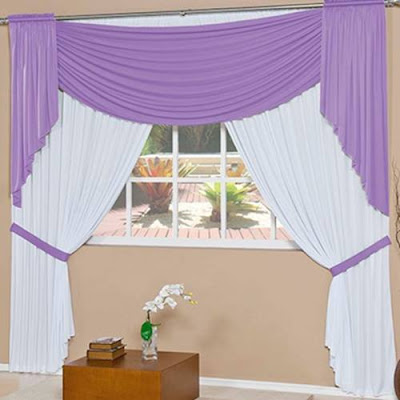 cute purple and white curtains