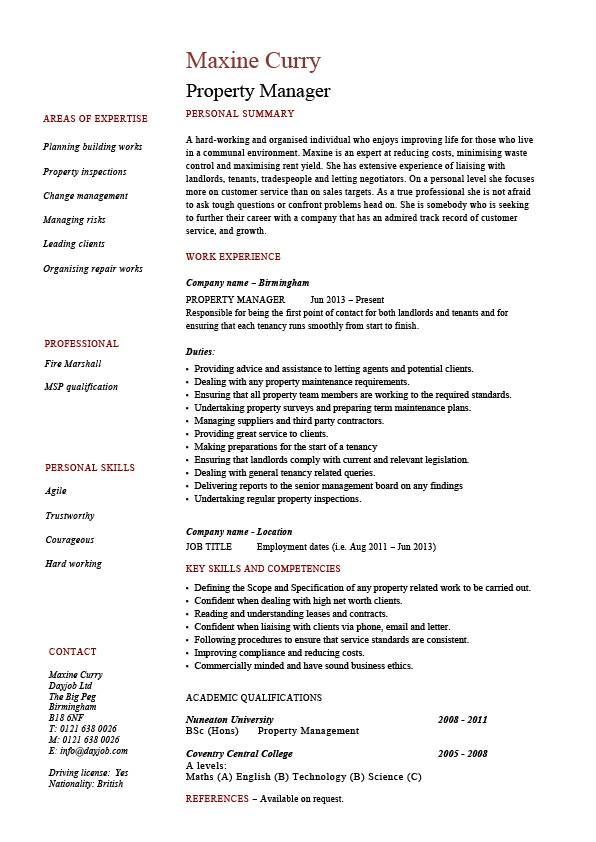 property manager resume sle sle resumes