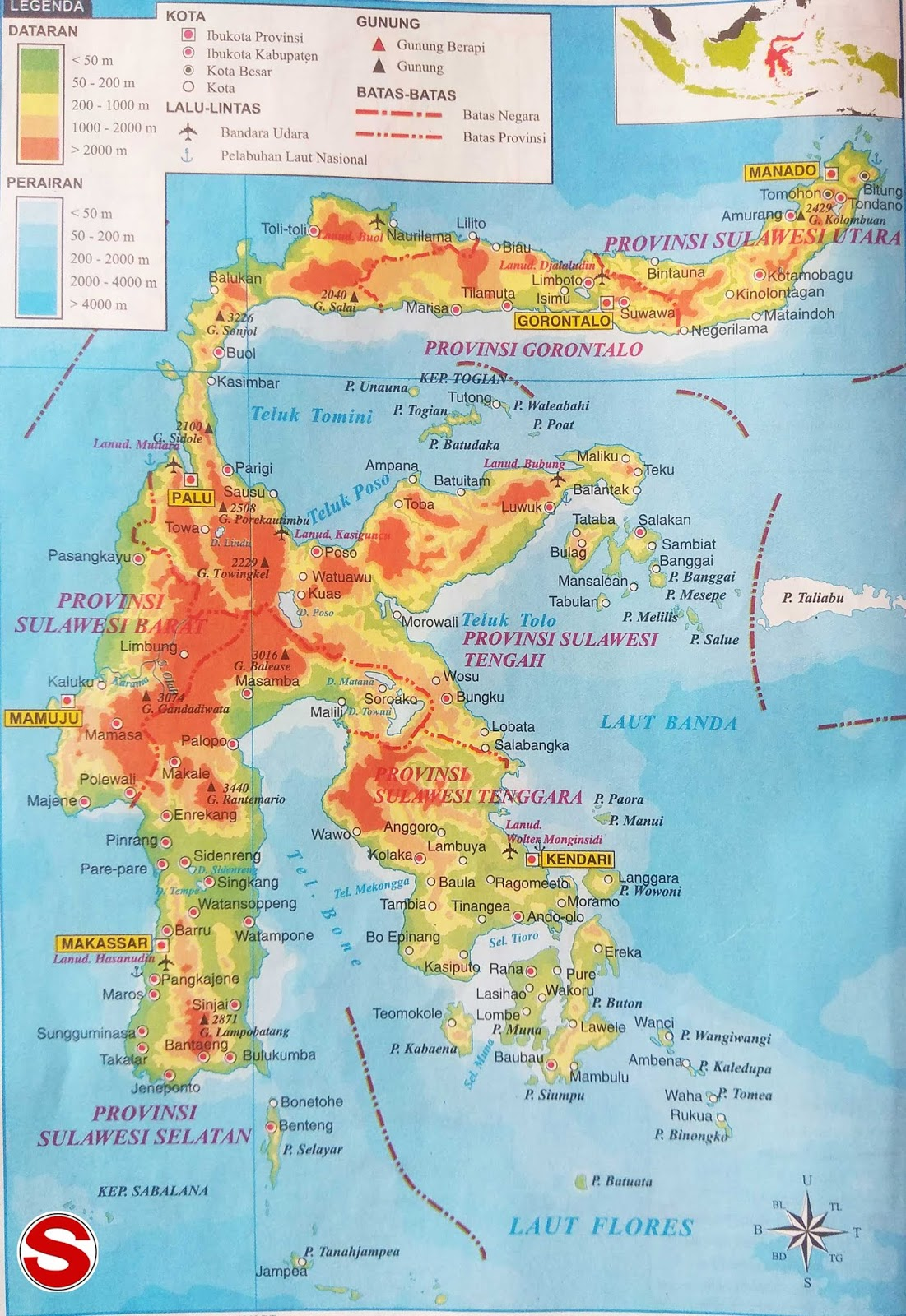 Gambar Peta Atlas Pulau Sulawesi