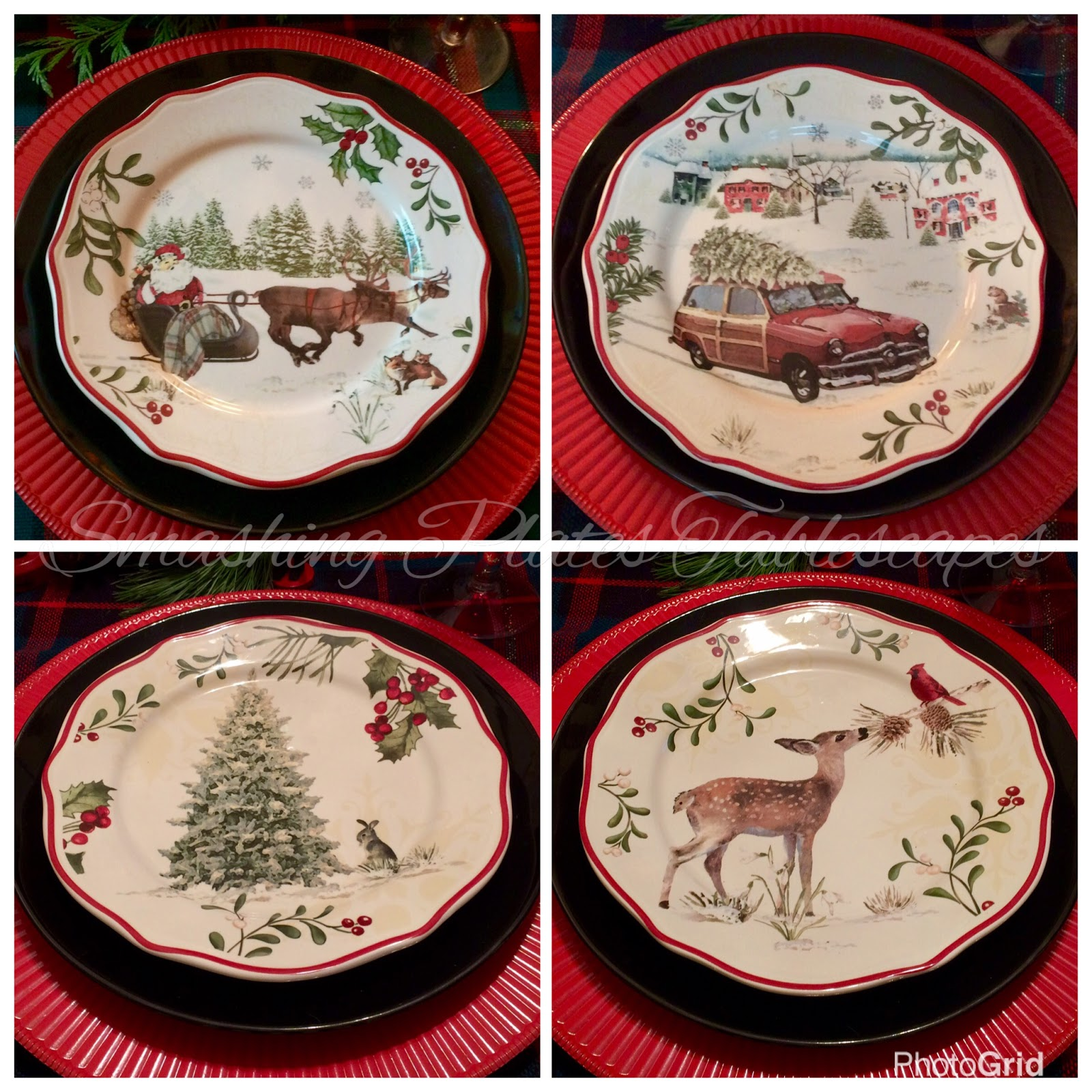 i love the better homes and gardens limited edition christmas plates in stock at walmart this year i used a black plate under the bhg plates to tie in the