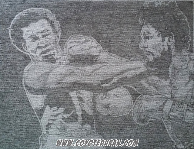 "Roberto Duran vs Sugar Ray Leonard I: ""The Brawl in Montreal."" Graphite (2H) on cold press watercolor paper, prior to watercolor paint and ink, 10"" X 13"", art commission by Coyote Duran"