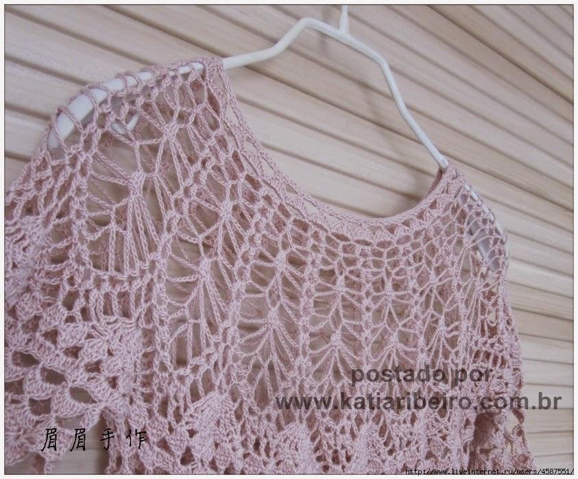 391dec34f Blusa em crochê com gráfico - Katia Ribeiro Crochê Moda e Decoração