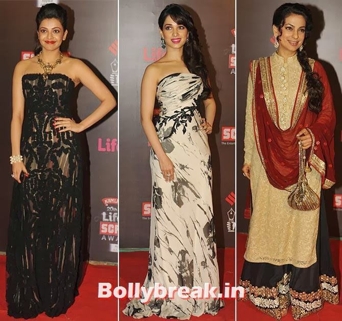 Kaajal Agarwal, Tamannah and Juhi Chawla, Life Ok Screen Awards 2014 Red Carpet Photos