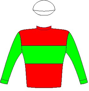 White River - Silks - Owner: Messrs W P Drew & B Kantor, Mesdames A M Doyle, D Nagle & Paul Shanahan & Klawervlei Stud (Pty) Ltd (Nom: Mr J P Koster) - Colours: Red, green hoop and sleeves, white cap