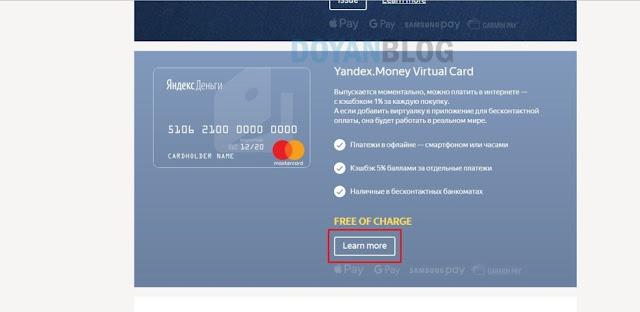 klik pada yandex money virtual card