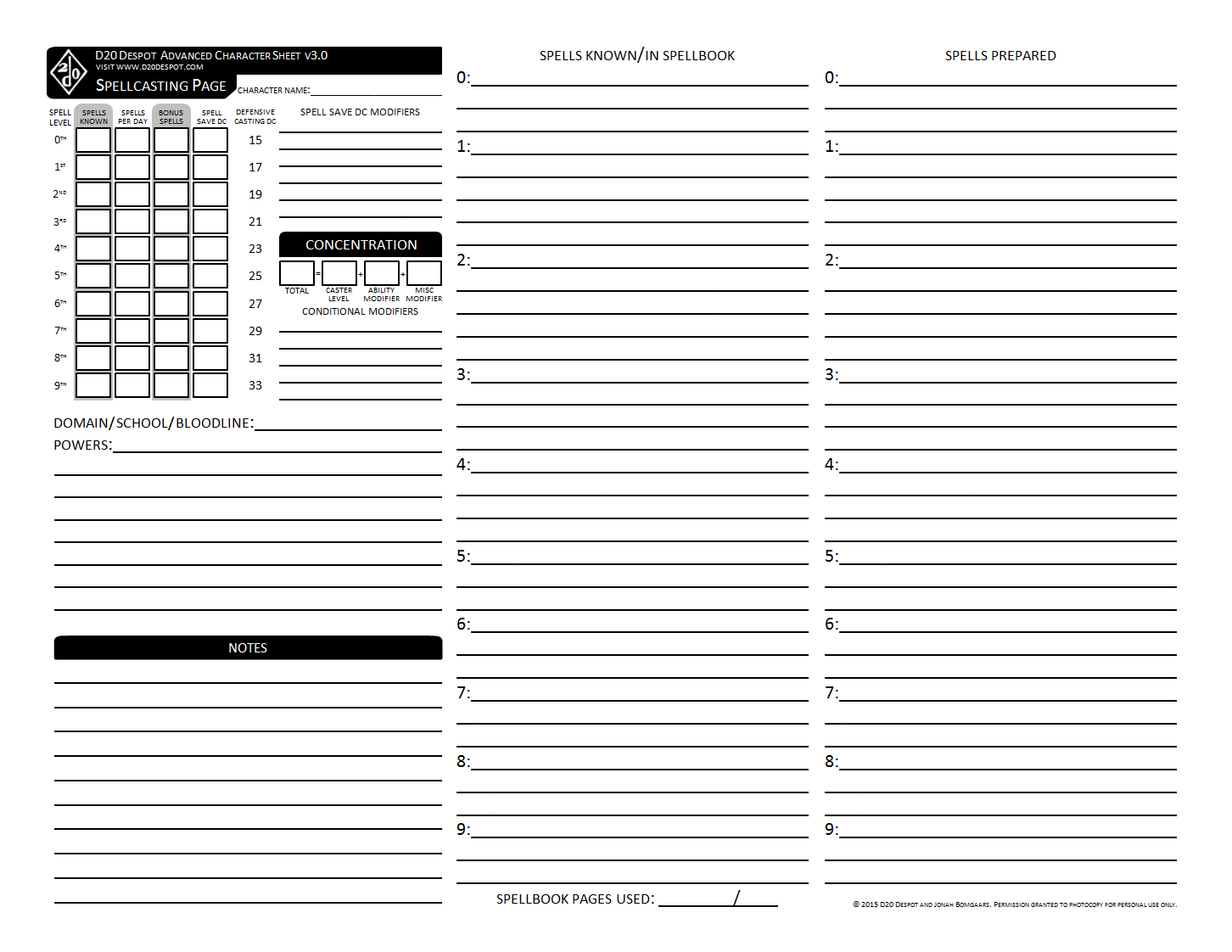 photograph regarding Pathfinder Printable Spell List identify d20 Despot: Superior Temperament Sheet 3.0 for Pathfinder