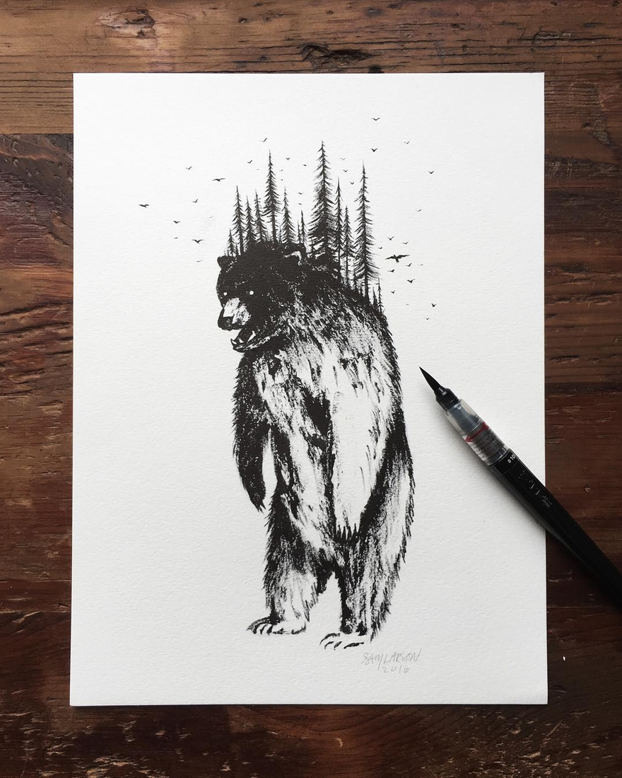 12-Forest-Bear-Sam-Larson-Injection-of-Inspiration-in-Diverse-Drawings-www-designstack-co