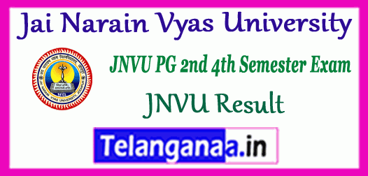 JNVU MA M.Sc M.Com MBA 2nd 4th Semester Result
