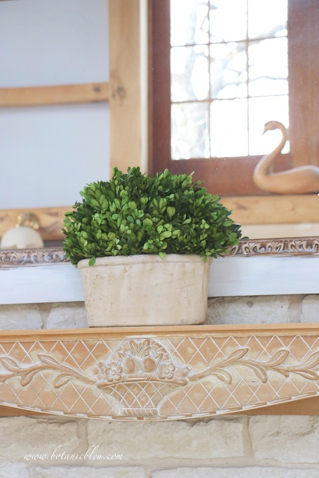 Winter French Country living room oval preserved boxwood on carved wood mantel