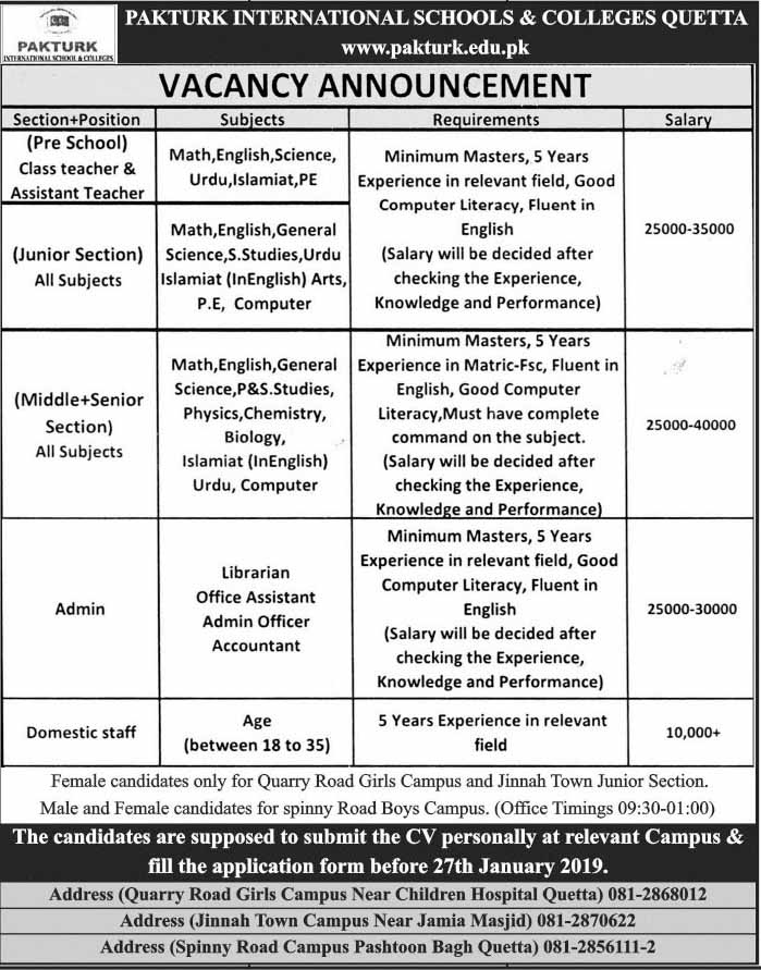 Vacancy Announcement in Pakturk International Schools and Colleges Quetta