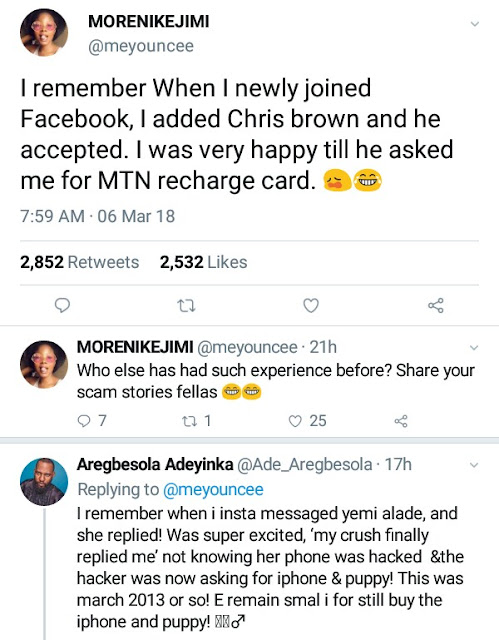 """I was happy Chris brown accepted me on FB till he asked me for MTN recharge card"" - Nigerians share their experiences with online fraudsters"