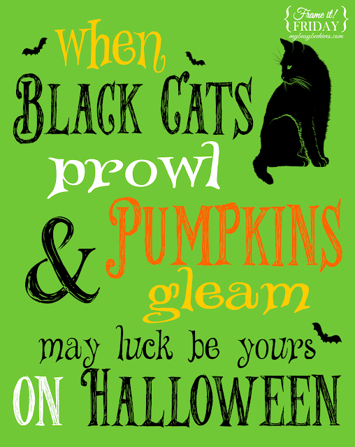 Halloween, printables, black cats and pumpkins