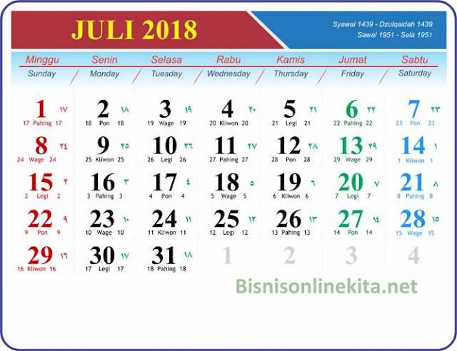 kalender juli 2018