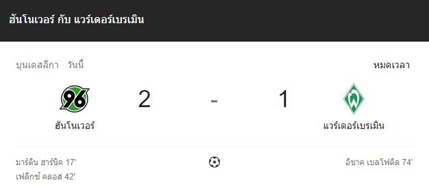 แทงบอลออนไลน์ ไฮไลท์ เหตุการณ์การแข่งขัน ฮันโนเวอร์ 96 vs แวร์เดอร์ เบรเมน