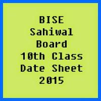 10th Class Date Sheet 2017 BISE Sahiwal Board