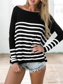 Camiseta de rayas blancas y negras