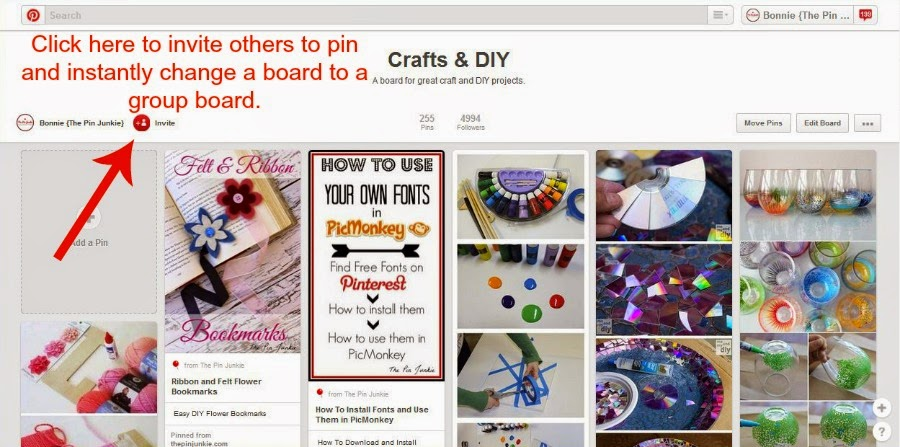 how to invite people to pin on Pinterest