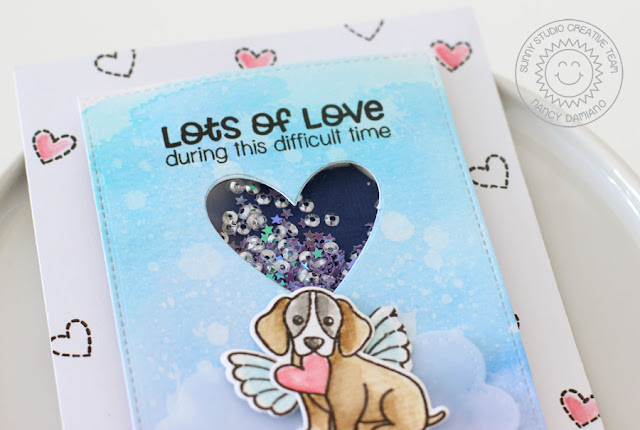 Sunny Studio Stamps: Pet Sympathy Angel Puppy Shaker Card by Nancy Damiano