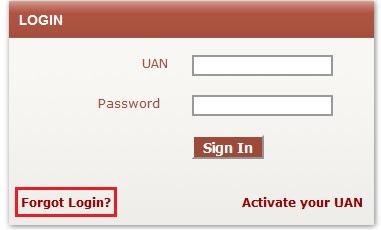 UAN - Forgot Login Password