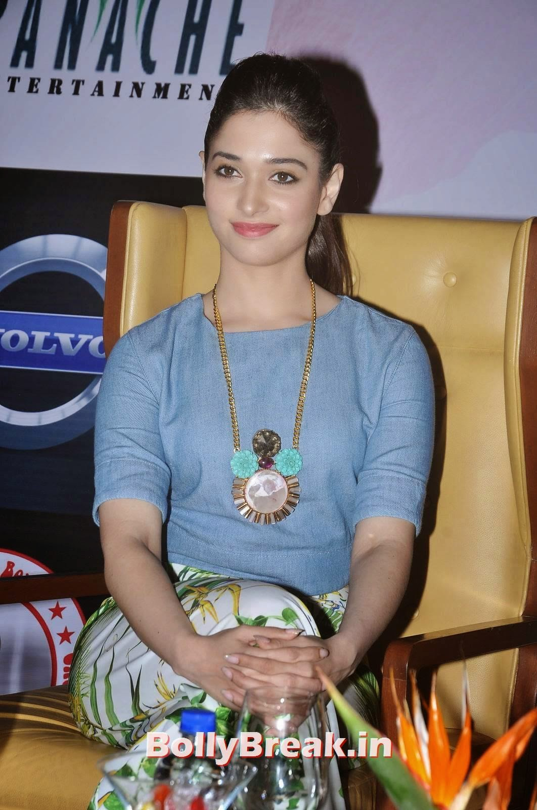 Tamanna Bhatia wearing a statement necklace, Tamanna Bhatia Pics from It's Entertainment Movie Press Meet